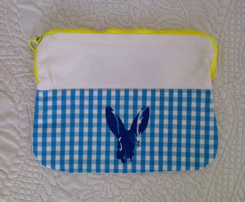 "Necessaire ""blue bunny on Vichy light blue"""