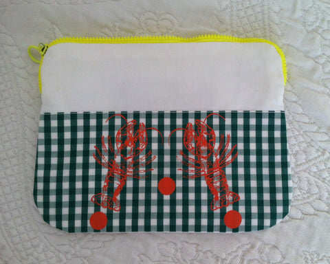 "Necessaire ""orange lobsters on Vichy green"""