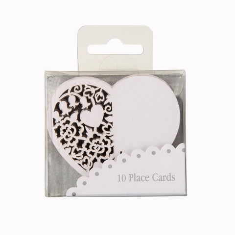 Place Cards Heart white