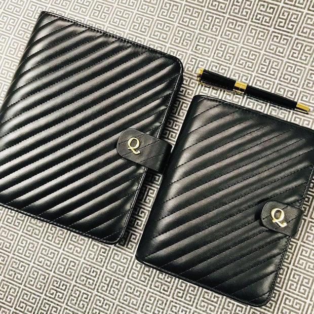 Pre-Order: Q5 Noir Quilted Black Vegan Leather Agenda Cover - A5 Size