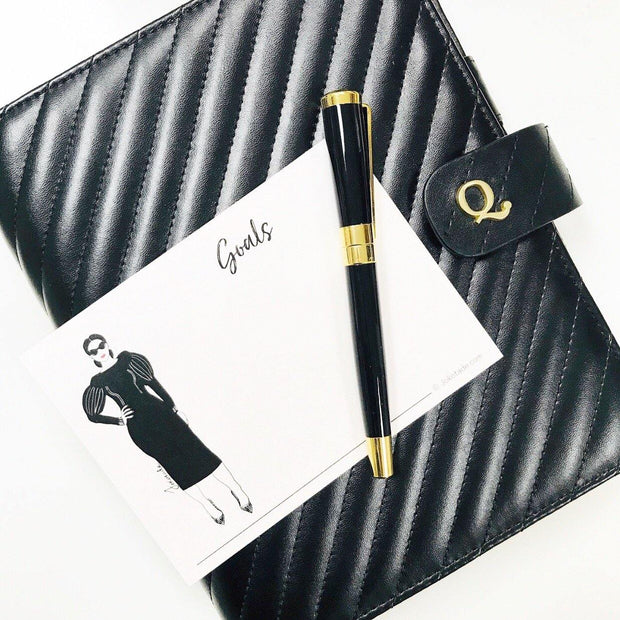 Signature Q5 Noir Quilted Black Vegan Leather Agenda Cover - A5 Size