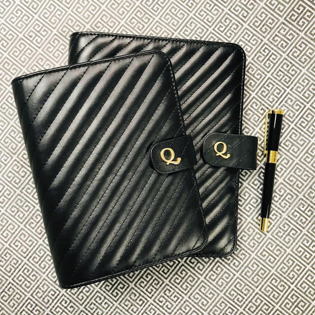 Q6 Noir Quilted Black Vegan Leather Agenda Cover - Personal Size