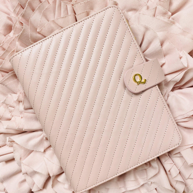 Q5 Signature Rose Blush Quilted Vegan Leather Agenda Cover - Large A5 Size