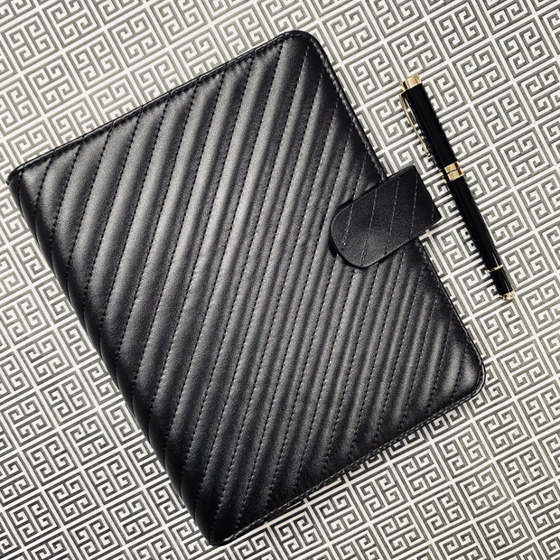 Q5 Classic Noir Quilted Black Vegan Leather Agenda Cover - A5 Large Size