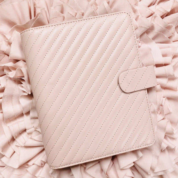 Q5 Classic Rose Blush Quilted Vegan Leather Agenda Cover - Large A5 Size