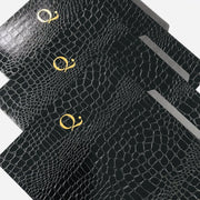 Set of 3 File Folders Black Croco Luxe