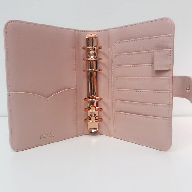 Classic Q6 Blush Saffiano Vegan Leather Agenda Cover - Personal Size
