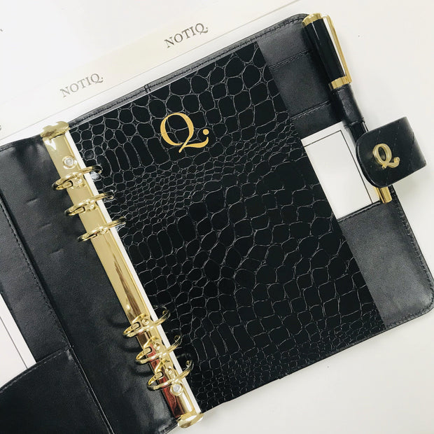 Q5 Signature Noir Quilted Black Vegan Leather Agenda Cover - A5 Size