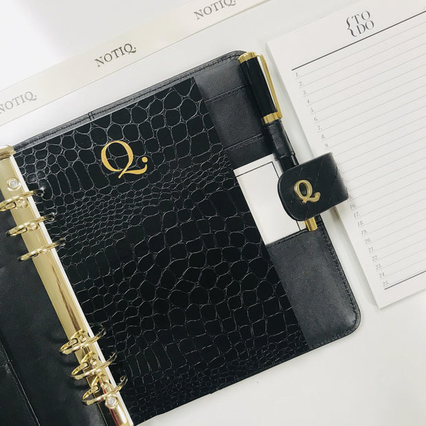Classic Q6 Noir Quilted Black Vegan Leather Agenda Cover - Personal Size