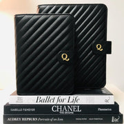 Q6 Signature Noir Quilted Black Vegan Leather Agenda Cover - Personal