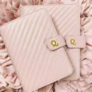 Q5 Signature Rose Blush Quilted Vegan Leather Agenda Cover - A5 Size