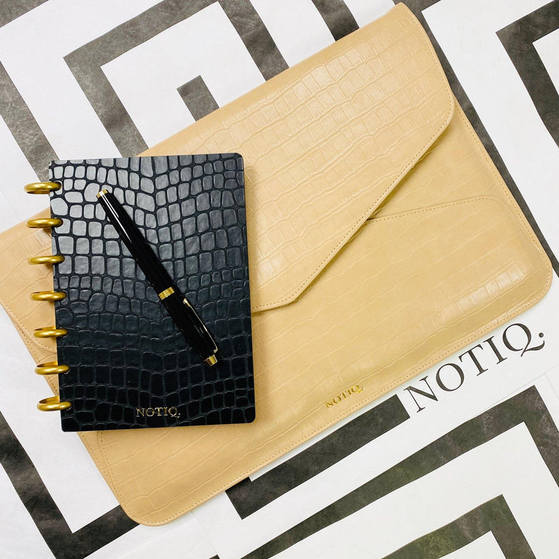 Bisque Croco Vegan Tech Clutch - NOTIQ