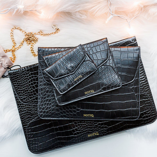 Croco Black Trio Tablet Clutch Set - NOTIQ