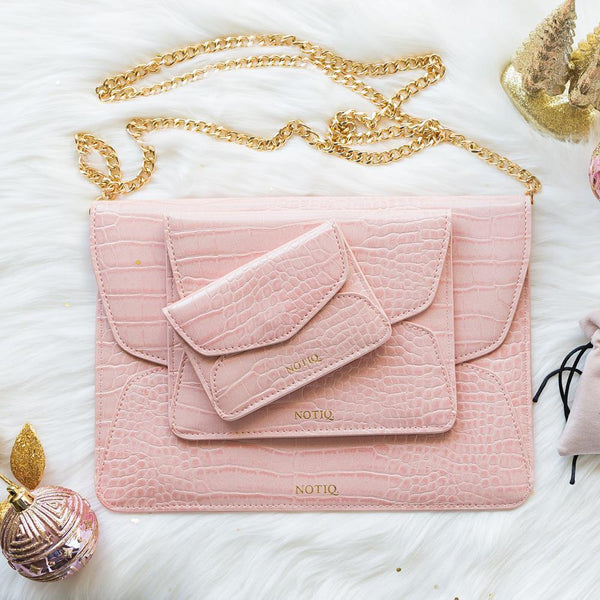 Croco Blush Trio Tablet Clutch Set - NOTIQ