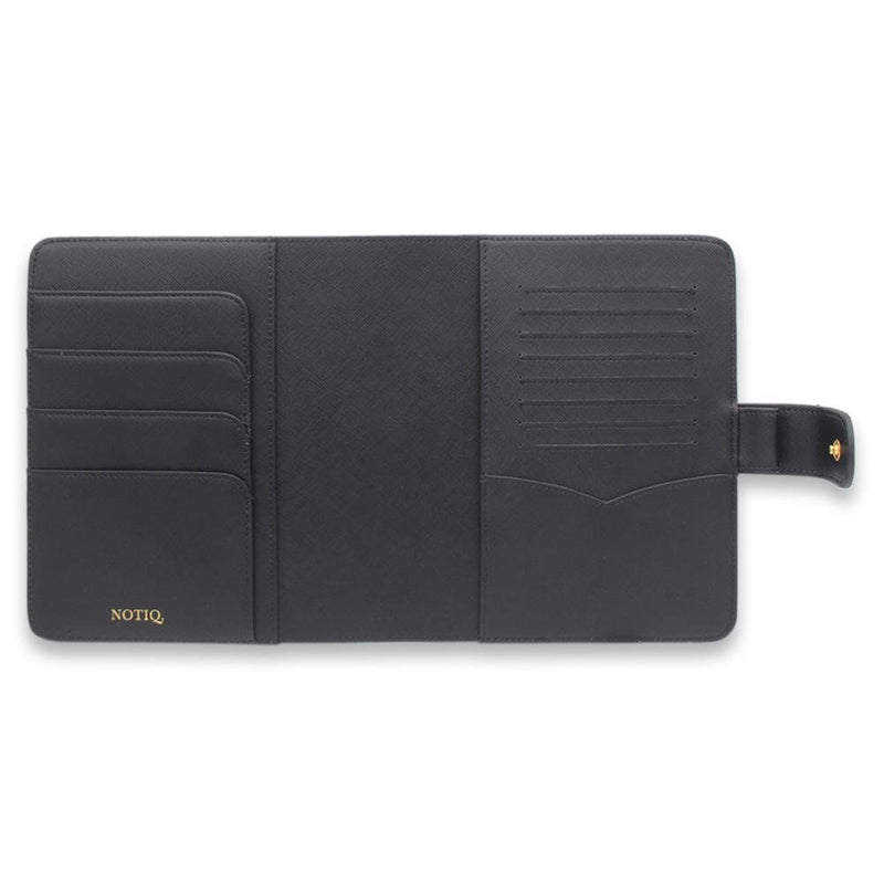 Gold on Jet Black Saffiano Vegan Agenda Cover RINGLESS / Planner - NOTIQ