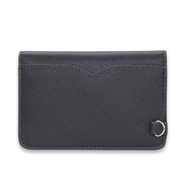 Jet Black Saffiano Vegan Leather Card Key Case - NOTIQ