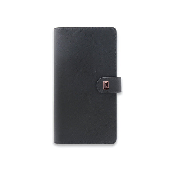 Rose Gold on Jet Black Saffiano SLIM Vegan Agenda Cover RINGLESS - NOTIQ