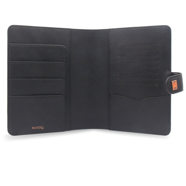 Rose Gold on Jet Black Vegan Saffiano Agenda Cover RINGLESS / Planner - NOTIQ