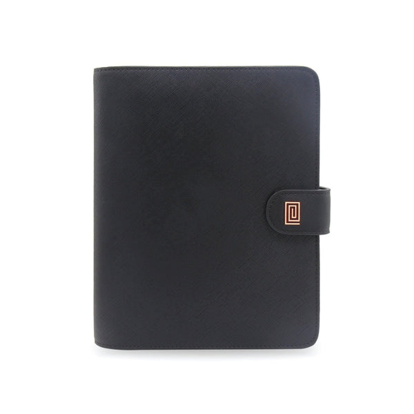Rose Gold on Jet Black Vegan Saffiano RING Agenda - NOTIQ