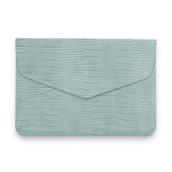 Seafoam Croco Vegan Tech Clutch - NOTIQ