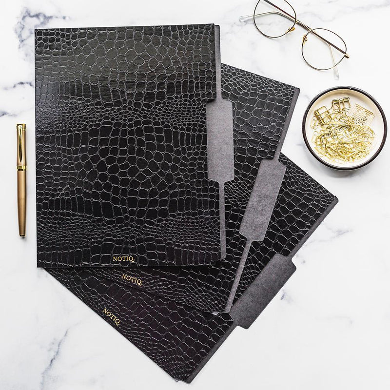 Set of 3 - Black Croco Luxe File Folders - NOTIQ