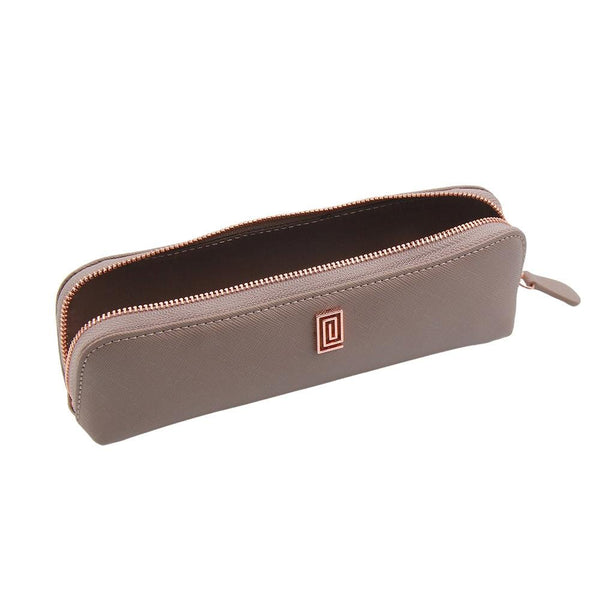Stone Gray Saffiano Pen & Pencil Case - NOTIQ
