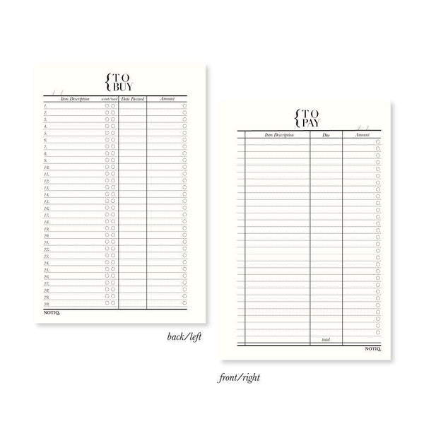 To Pay + To Buy Finance Planner Inserts & Refill - NOTIQ