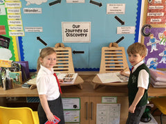 Pupils stood at EIGER Student Standing Desk