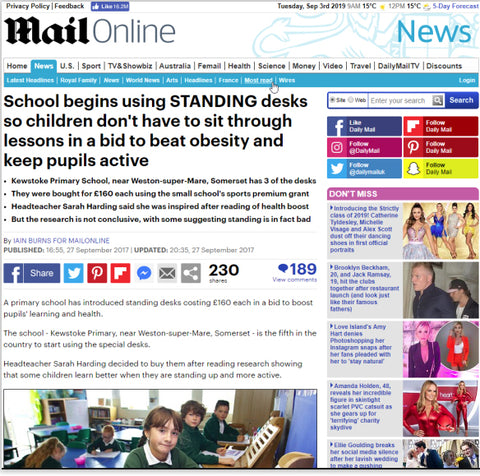 The Mail ran a feature on Eiger Student Standing Desks being used in schools