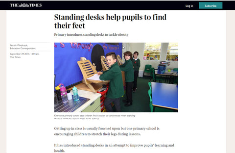 The Times wrote about Eiger Student Standing Desks