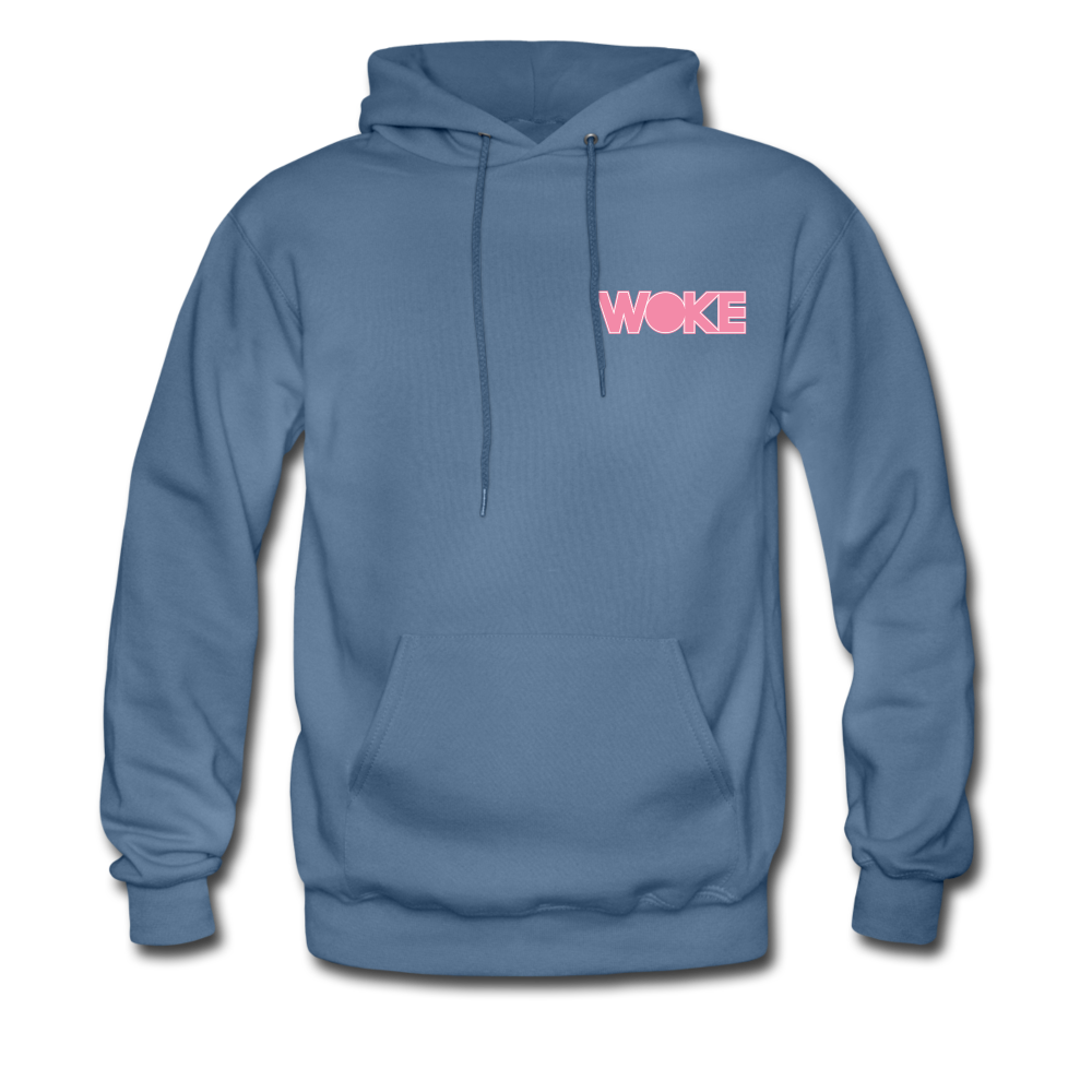 Load image into Gallery viewer, Kyle - Woke Hoodie (Pink Design) - denim blue
