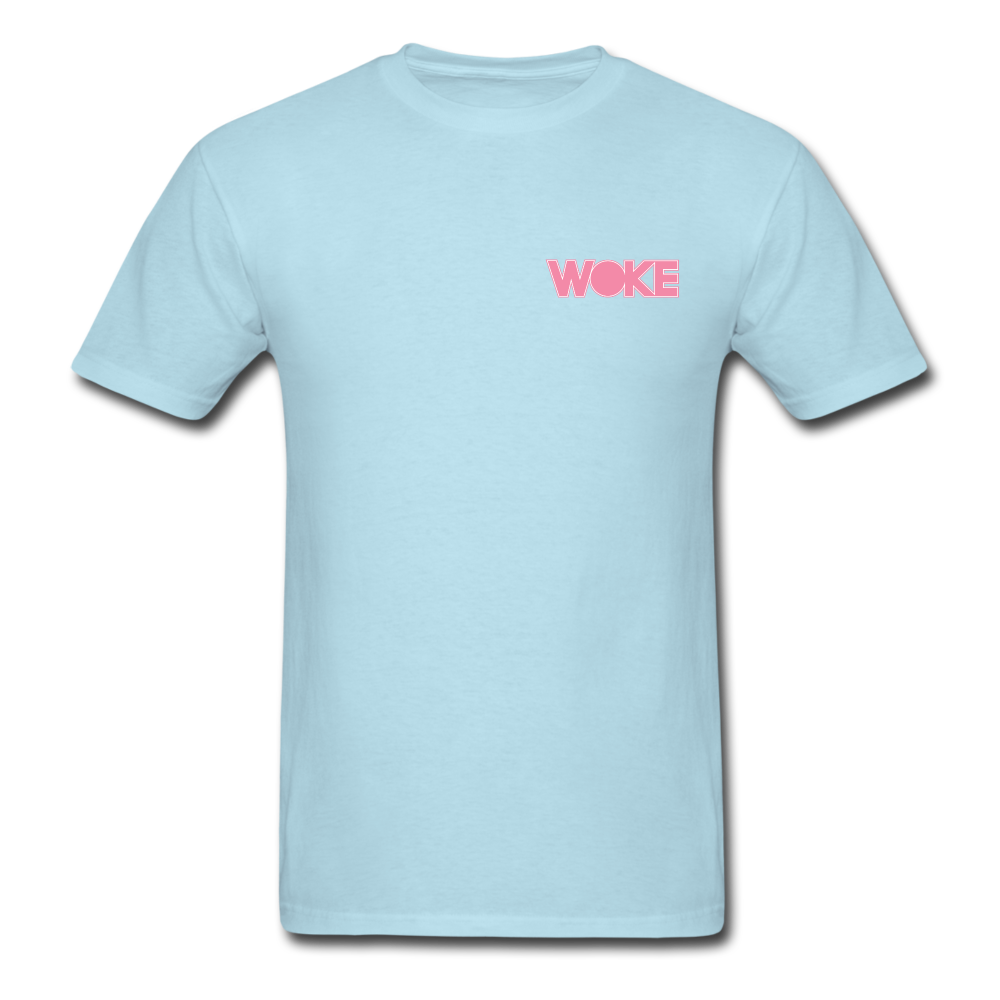 Load image into Gallery viewer, Kyle - Woke T-Shirt (Pink Design) - powder blue