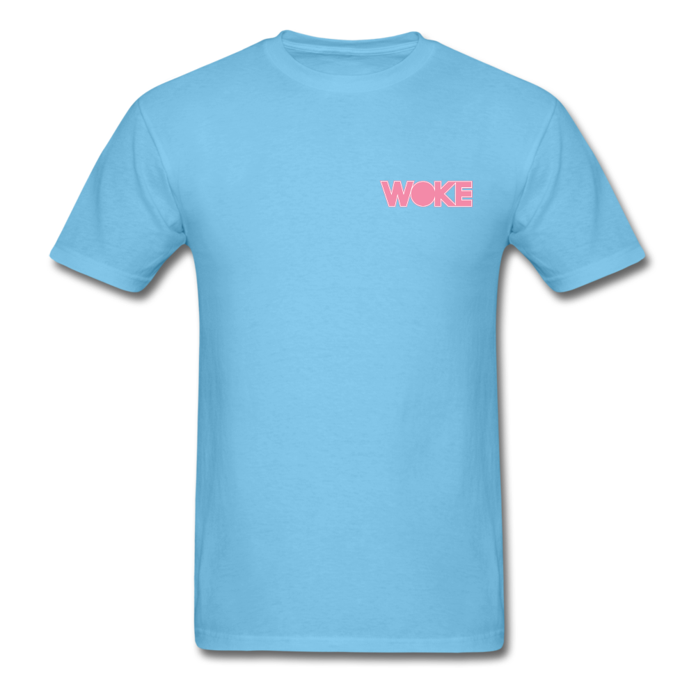 Load image into Gallery viewer, Kyle - Woke T-Shirt (Pink Design) - aquatic blue