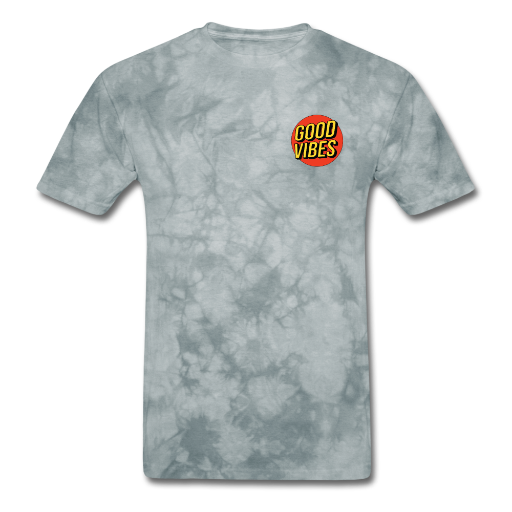 Load image into Gallery viewer, Matt: Good Vibes Shirt - grey tie dye
