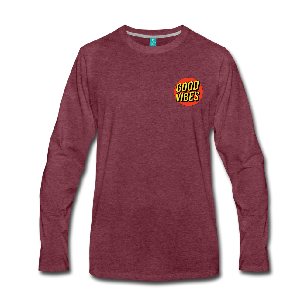 Load image into Gallery viewer, Matt: Good Vibes Long Sleeve - heather burgundy