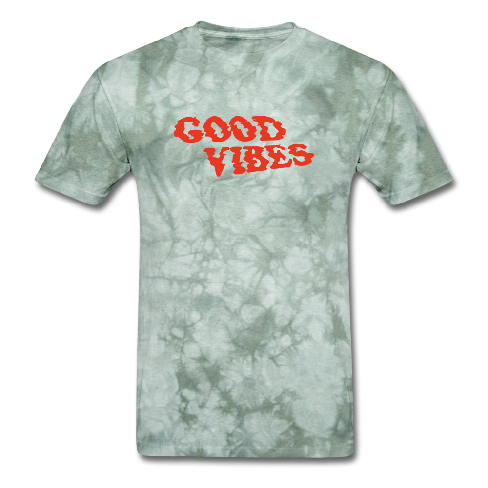 Load image into Gallery viewer, Matt: Good Vibes Shirt - military green tie dye