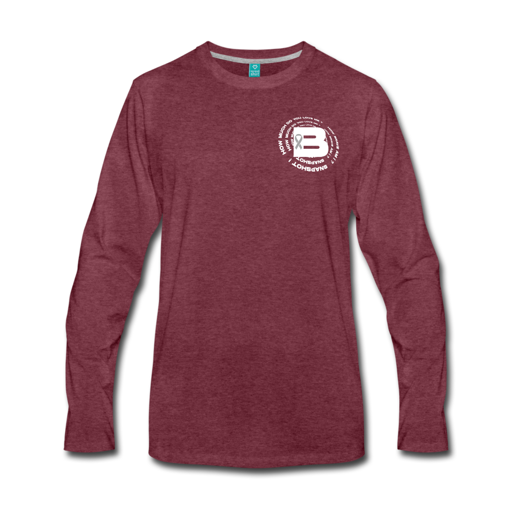 Load image into Gallery viewer, B's Slogan Long Sleeve (White Design) - heather burgundy
