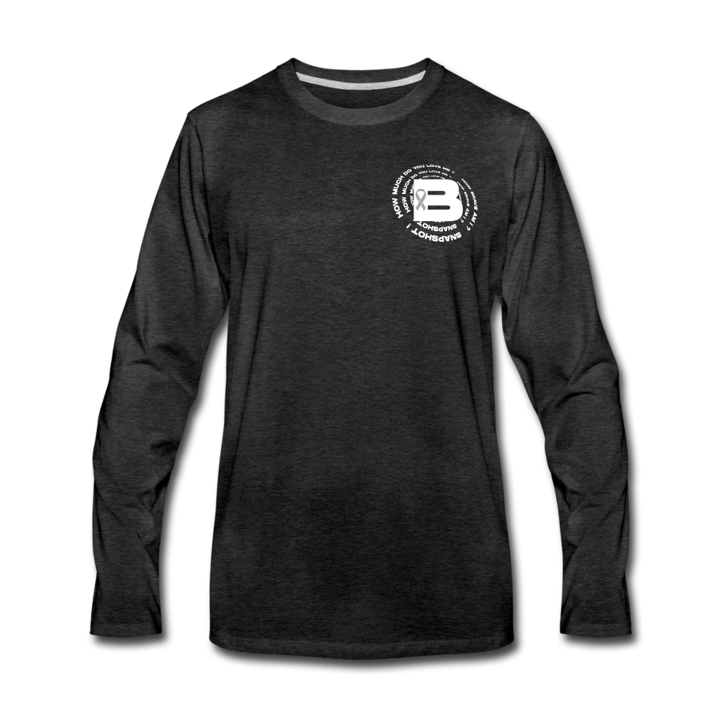 Load image into Gallery viewer, B's Slogan Long Sleeve (White Design) - charcoal gray