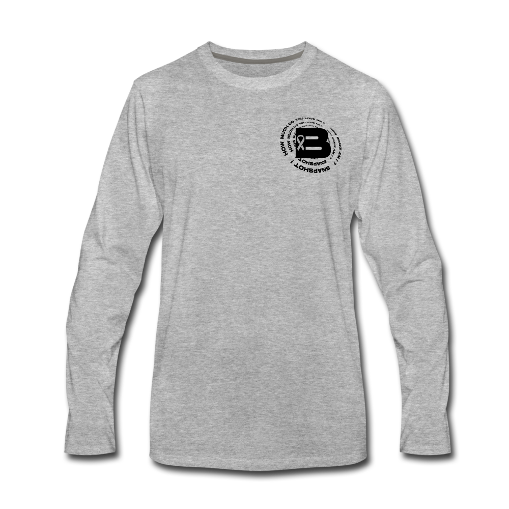 Load image into Gallery viewer, B's Slogan Long Sleeve (Black Design) - heather gray