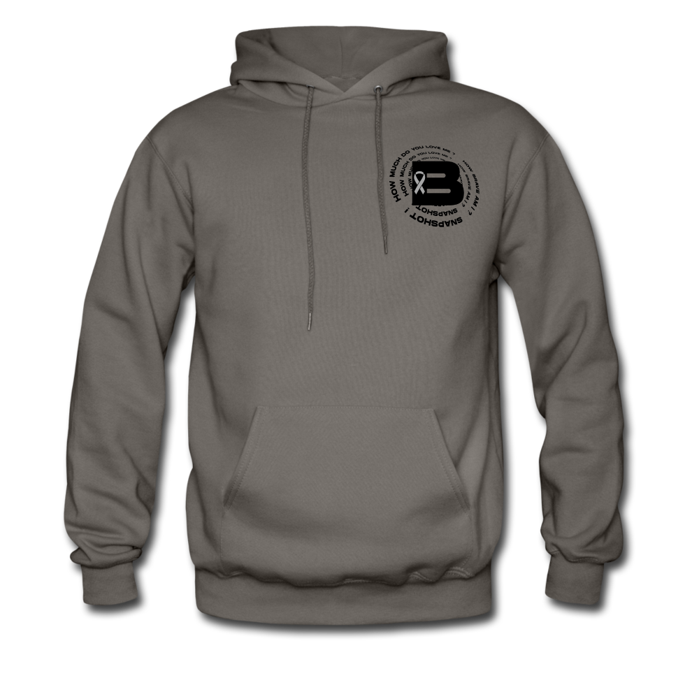 Load image into Gallery viewer, B's Slogan Hoodie (Black Design) - asphalt gray