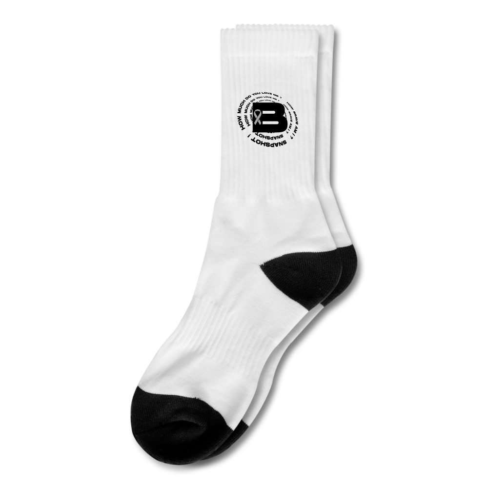 Load image into Gallery viewer, B's Slogan Crew Socks - white