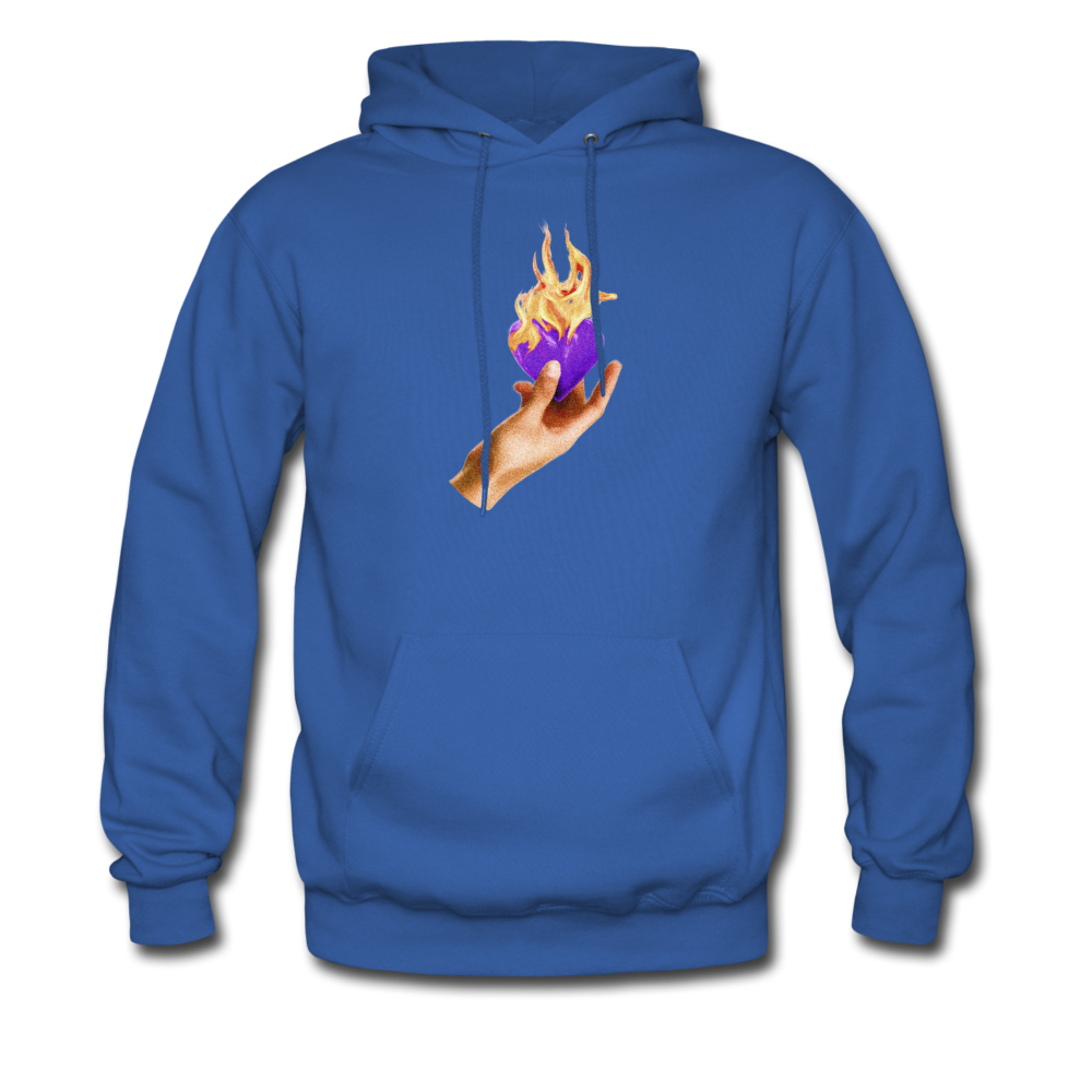 Load image into Gallery viewer, Heart on fire hoodie - royal blue