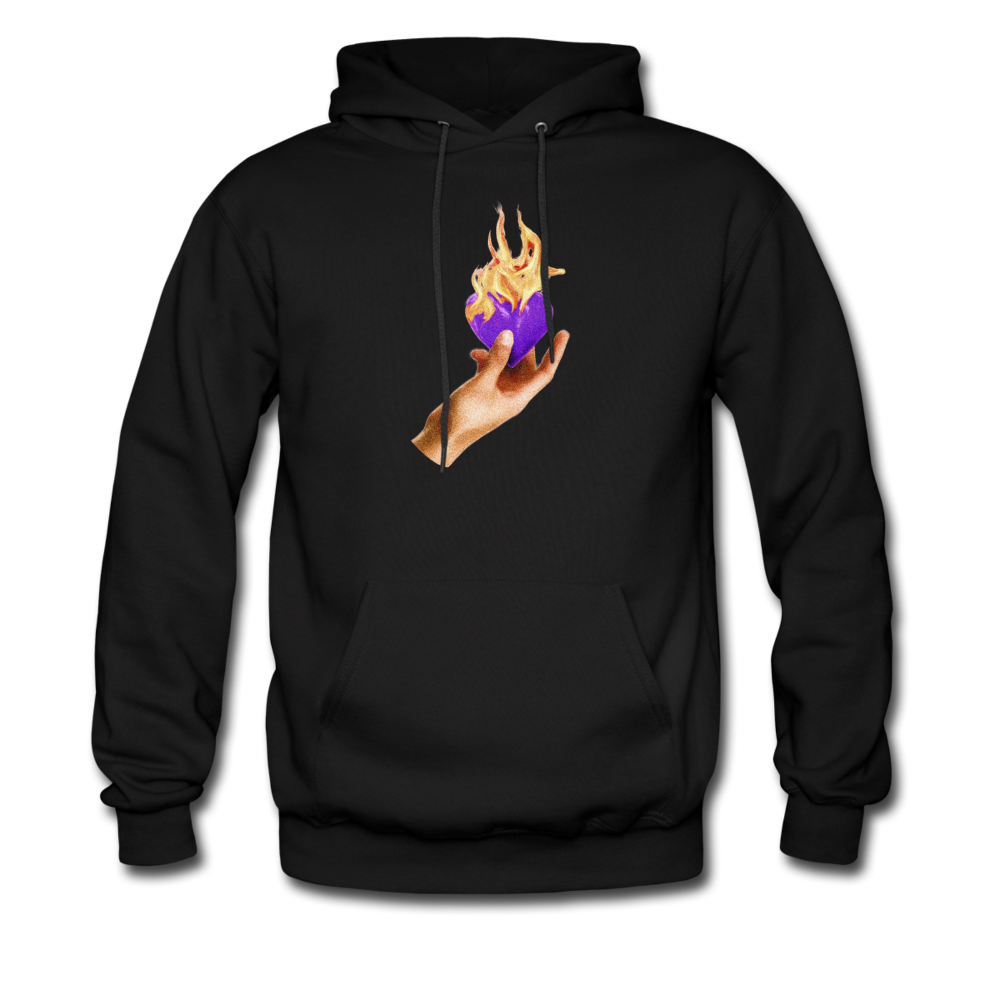 Load image into Gallery viewer, Heart on fire hoodie - black