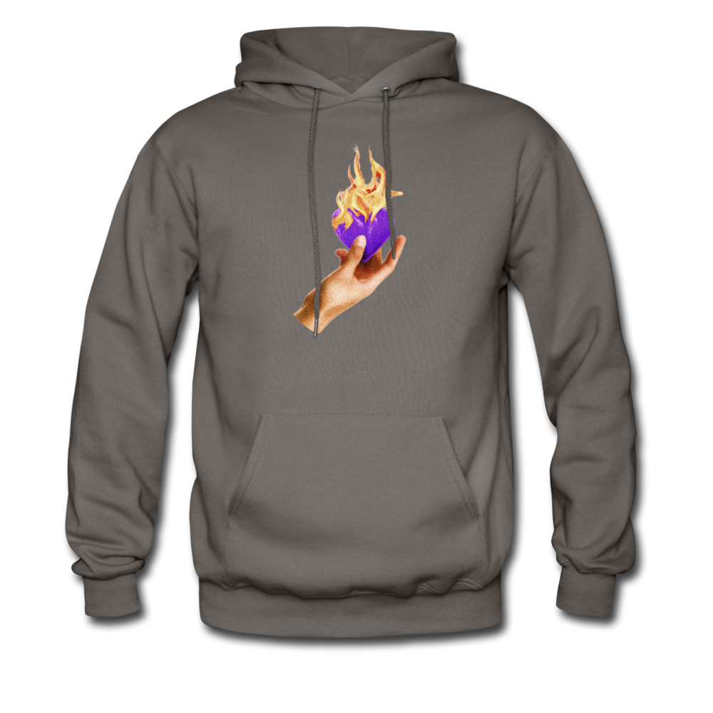 Load image into Gallery viewer, Heart on fire hoodie - asphalt gray