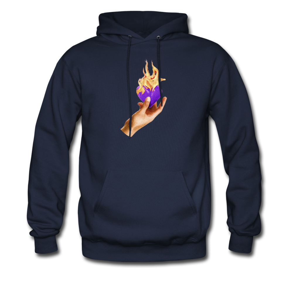 Load image into Gallery viewer, Heart on fire hoodie - navy