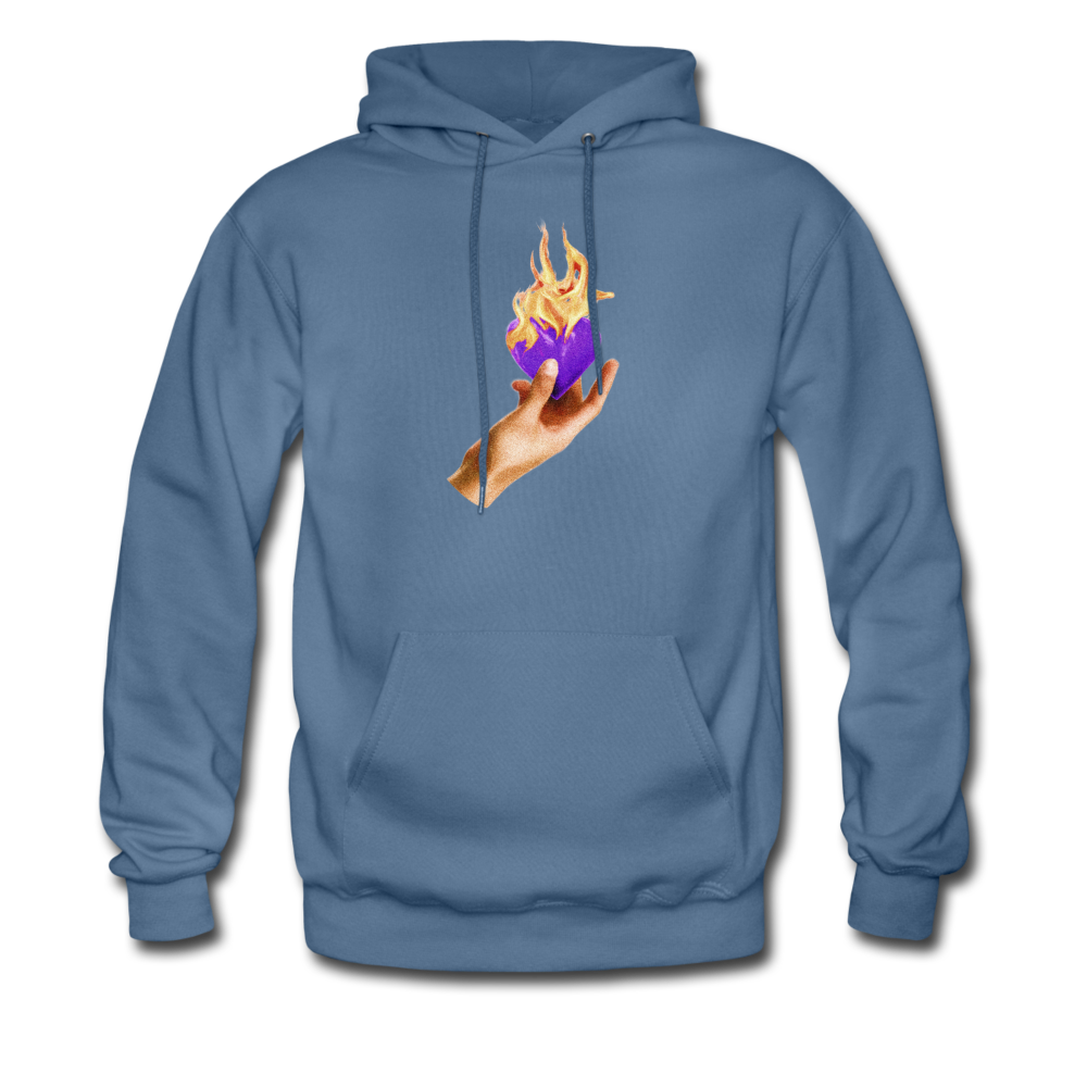 Load image into Gallery viewer, Heart on fire hoodie - denim blue