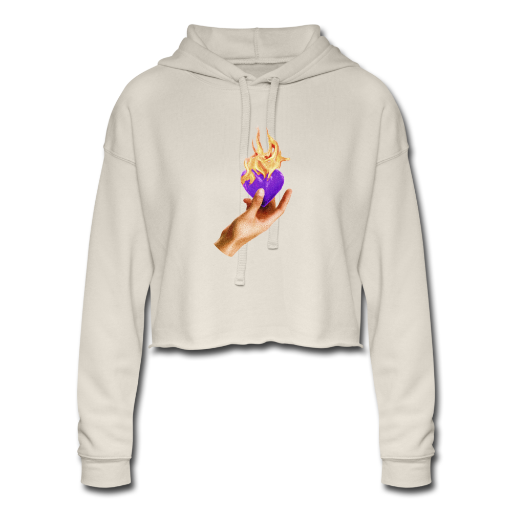 Load image into Gallery viewer, Heart on fire purple heart cropped hoodie - dust
