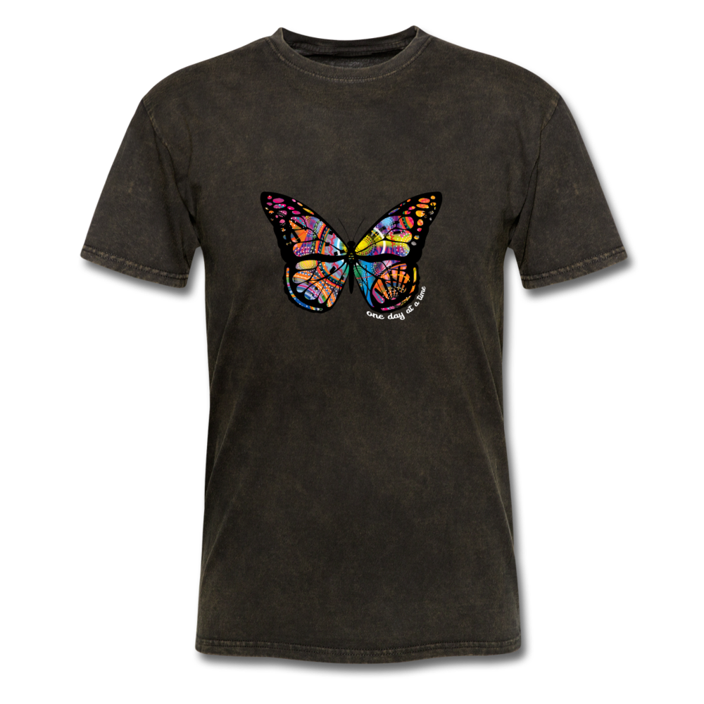 Load image into Gallery viewer, One Day At a Time Butterfly Shirt - mineral black