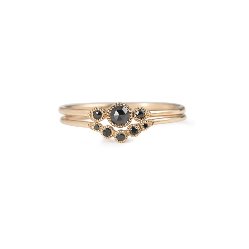 Bague - Bague Petit Amour Céleste Curve Diamants Noirs, bague de créateur, alliance made in France, Alliance Myrtille Beck Paris
