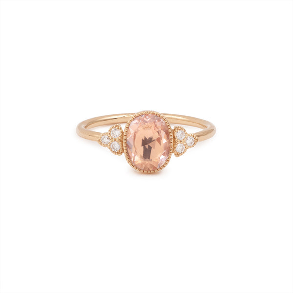 Bague Flora Ovale Saphir rose Diamants